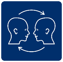 The communication access symbol is a blue square. Inside the square is the outline of two white heads which are facing each other. There are clockwise arrows, one above and one below the heads showing that communication is a two way process. Both heads have ears, eyes and a mouth showing that listening, looking, understanding and speech are all important in communication access.